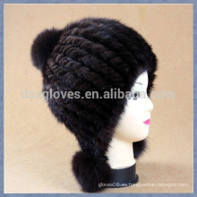 Moda Señora Tejido Mink Fur Caps and Hats Con bolas