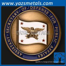 подгоняйте металл монетки, изготовленный на заказ высокого качества помощника министра обороны США военная монета