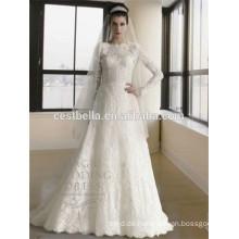 Langes Hülsen-moslemisches Brauthochzeitskleid Abaya moslemisches hijab Hochzeitskleid