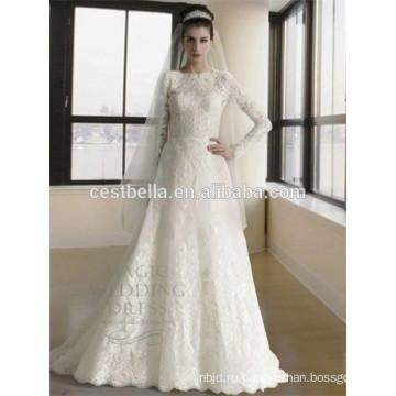 С длинным рукавом мусульманских свадебное платье Абая мусульманский хиджаб свадебное платье