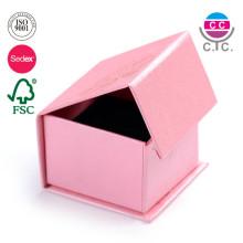 Custom Logo Texture Pattern Paper Ring Gift Box Magnetic Jewelry Box with Velvet Foam