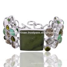 Bracelete Chrysoprase e Multi Gemstone 925 Sterling Silver