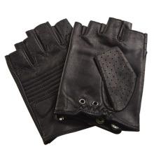 Moda masculina de couro sem dedos preto luvas de condução de esportes (yky5203)