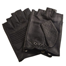 Мужская мода черные кожаные перчатки без пальцев вождения спортивные перчатки (YKY5203)