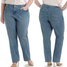 Pantalones al por mayor de los pantalones vaqueros de la manera de los pantalones vaqueros grandes del tamaño grande de las señoras