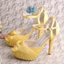 Wedopus Wedding Platform Promシューズイエロー