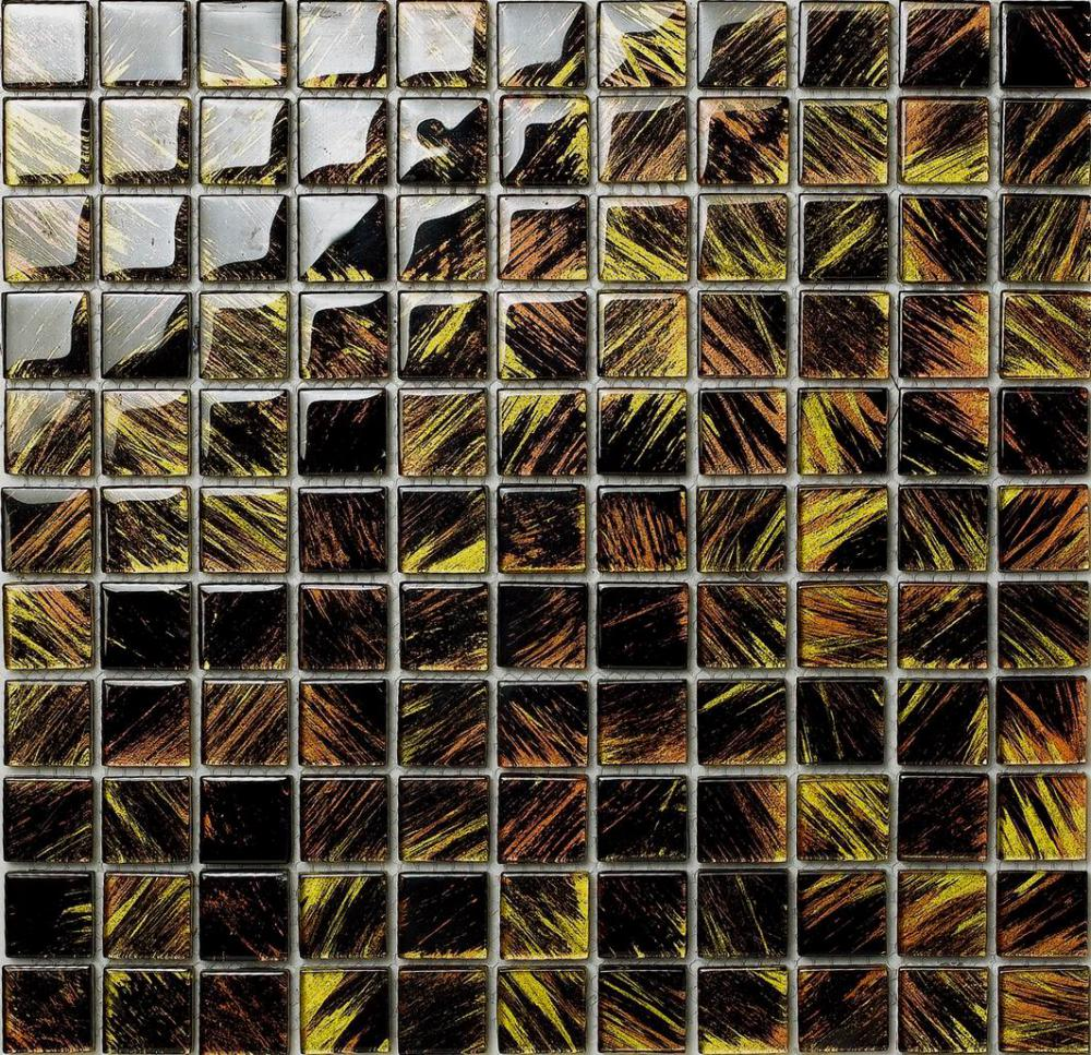 Black And Gold Painting Wall Paving Mosaic Tile