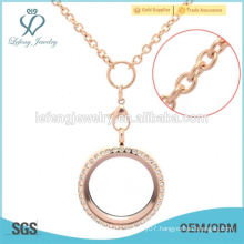 cheap new stainless steel rose gold floating locket chain design girls