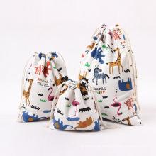 Wholesale custom 2021 printed pattern cotton drawstring bag