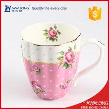 nice drinkware mug for airlines / light pink royal coffee mug / fine bone porcelain large elegant mug