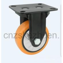 Mh1 Med-Heavy Duty Type fixe Double roulement à billes Orange PU Wheel Roulette