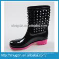 Shugxin schwarz Haushalt Frauen Gummistiefel hohe PVC niedrigem Absatz B-819