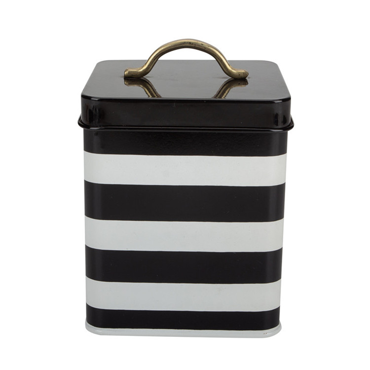 Tea STRIPED Canister Black White