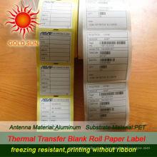 2013 billig Thermisch vorgedruckte Heißsiegeletiketten, Etikettenpapierrolle