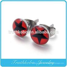 TKB-E0065 2014 Acero Inoxidable Estrella Brillante Círculo Rojo Par Stud Stud Pendientes Para Mujer Nuevo Diseño Al Por Mayor Conjunto de Joyería de Epoxi Estrella