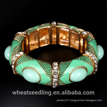 Boho Style Women Bangle Bracelet Colorful Gemstone Ethnic Jewelry Saudi Arabia Jewelry