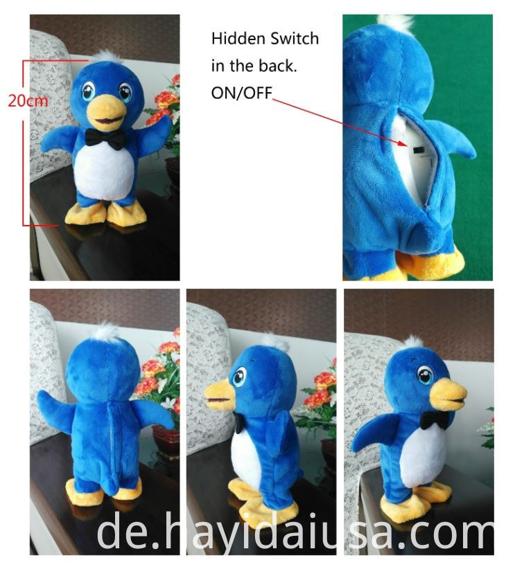 Electric Battery Operated Movable Penguin Plush Toy With Voice Copying And Walking