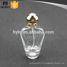 botella de perfume de vidrio de 100 ml con tapa dorada