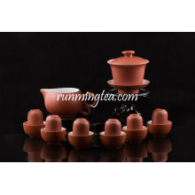 Zisha Red Gongfu Brewing Teaware Set, 1 Gaiwan, 1 Pitcher, 6 Sniffing & Drinking Cups