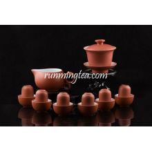Zisha Vermelho Gongfu Brewing Teaware Set, 1 Gaiwan, 1 Lançador, 6 Sniffing & Drinking Cups