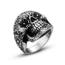 Рок-н-ролл череп кольцо матовый черный из нержавеющей стали