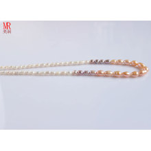 5-6-7mm Rice Freshwater Pearl Strand Necklace (ES128-6)