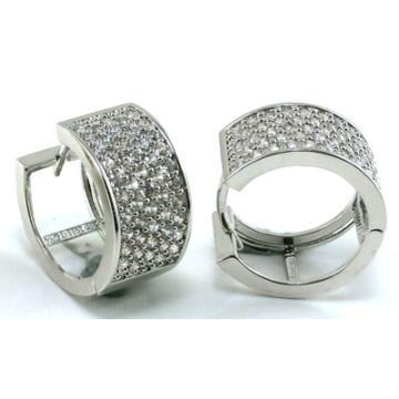 Bijoux de bonne qualité 3A Boucles d'oreilles en argent blanc CZ 925 (E6490)