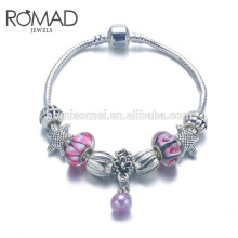 2017 OEM silver beads emoji bracelet With Heart Pendant For Women, DIY Charm Bracelet Accessory Jewelry