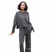 Pure cashmere sweater women with side splits & sleeve belt + leisure wide leg pants with waist belt women knitted set