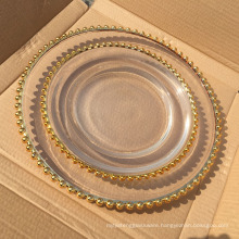gold plated shiny glass charger plates for wedding