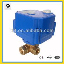 "Válvula eléctrica de 3 vías L-flow 1/4 ""de latón DC9-24V con función de realimentación de señal"