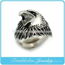 Alibaba sitio web de acero inoxidable esmalte negro animal águila anillo para hombres joyería hecha en china