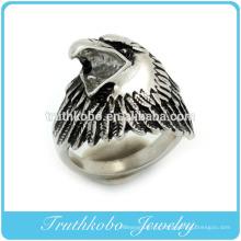 Alibaba site web en acier inoxydable émail noir anneau de l'aigle des animaux pour les bijoux des hommes fabriqués en Chine