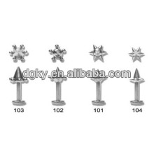 Personalized star tongue bar jeweled body piercing