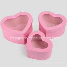 Quality Hearted Shape Metallic Pink Paper Gift Box with Clear Window