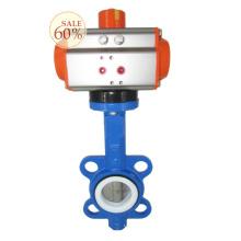 DN100 4 pulgadas de conexión de obleas de aire de tratamiento de agua de control neumático válvula de mariposa con actuador
