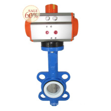 DN100 4 inch wafer connection air water treatment pneumatic control butterfly valve with actuator