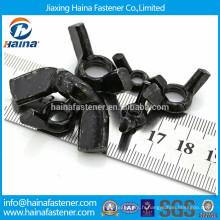 Écrou à écrou papillon en acier au carbone plaqué noir avec toute la taille