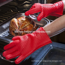 La cocina al por mayor del diseño de encargo que cocina los guantes resistentes resistentes al calor del Bbq del silicón / el guante del Bbq del horno de la parrilla del silicón / el mitón del horno