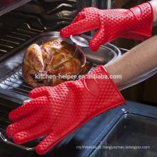 Atacado Cozinha Custom Design Cozinhar resistente ao calor Durable Luvas Silicone BBQ / Silicone Grill Forno Luva de churrasco / Mitt Oven