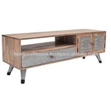 Industrial Mango Wood and Metal Legs Support de télévision 2 portes et 1 tiroir