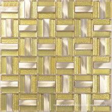 Poland Hotel Lobby Yellow Color Glass Aluminium Mosaic Tile