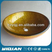Popular Golden Fashionable Round Wash Bowl Glass Vessel Sink