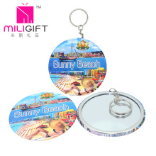 Metal Keychain Photo Print with Make up Mirror