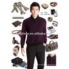 Stylish Chinese mock neck men's 100% cashmere sweater