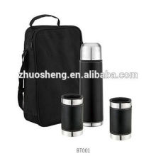 color gift box hot seller stainless steel vacuum water flask with carry strap 500ml +2*300ml