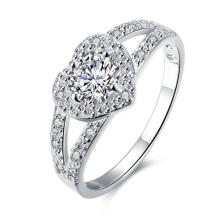 Anillo de compromiso de la joyería del diamante de la plata CZ del diseño romántico del corazón de la vendimia
