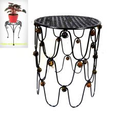 Deluxe Garden Glass Bead Decorated Metal Chair Flowerpot Stand Craft