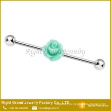 Хирургическая сталь светло зеленый смолы роза цветок уха промышленных штангой 14 калибровочных