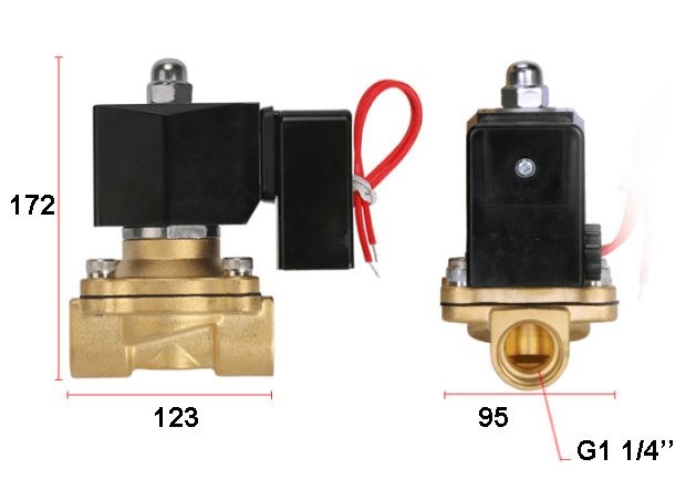 Size display of 2W350-35 solenoid valve